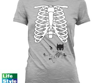 Halloween Skeleton Shirt, Maternity Announcement T-shirt (Batman) Skeleton Baby Shirts Pregnancy Halloween, Maternity Costume Tee CT-1319