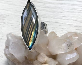 Striped Labradorite and sterlig ring  US size 8.25