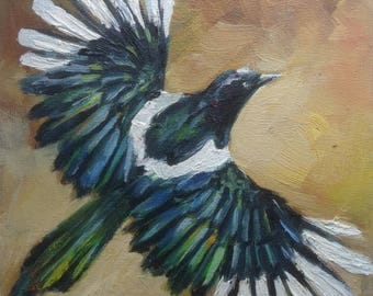 mini painting oil painting bird magpie art gift miniature nature fly