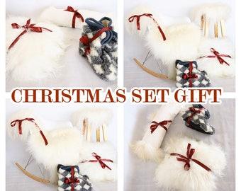 CHRISTMAS SET GIFT - Icelandic Sheepskin Rug, Icelandic Sheepskin Gift Set, Sheepskin Stool cover, Sheepskin Pillow, Woolen Slippers