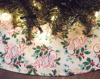 Christmas Tree Skirt-Merry Christmas-Holly-Christmas Tree-Gold-Holiday Decor-Christmas Decor-Traditional Christmas-Tree Skirt-50""