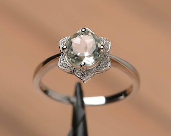 natural green amethyst ring anniversary wedding ring sterling silver round cut gemstone ring sunflower ring