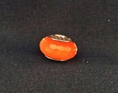 "Authentic Pandora ""Fascinating Orange"" Murano Glass s925 Sterling Silver Charm. Retired Item #791626"