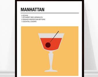 Manhattan Cocktail Print, Vintage Cocktail Print, Cocktail Recipe Art, Alcohol Print, Manhattan Recipe