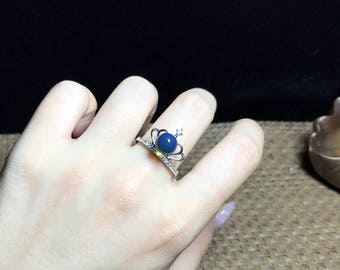 Dominican blue amber ring, crown style