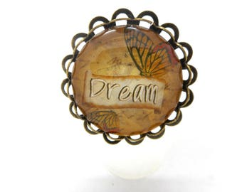 Ring bronze cabochon butterfly dream