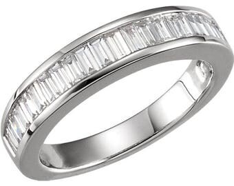 White Gold Diamond Baguette Wedding Band Moissanite Wedding Band Platinum Baguettes wedding BAND Baguette Anniversary Ring Eternity Band