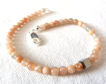 Bracelet, Silver 925 and natural stones / sand mens natural stone Bracelet