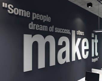 Make it Happen, 3D, Office, Wall, Art, PVC, Typography, Decor, Inspirational, Motivational, Work, Sucess, Decals, Stickers - SKU:OMIH