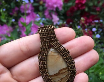Picture Jasper Wire Wrapped Necklace, Crystal Pendant