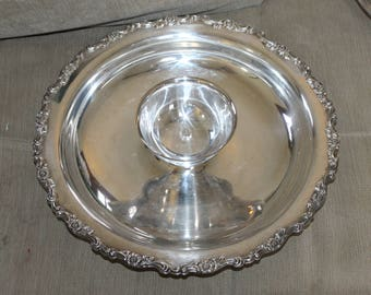 Vintage Vegetable Platter, Silver or Silver Plated, Very Heavy, Large 15 Inches in Diameter, Dip Bowl is 5 Inches in Diameter, Great Find
