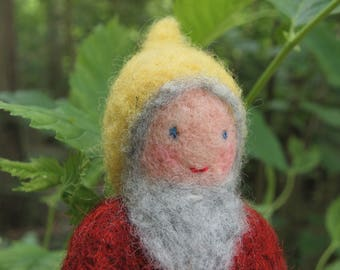 Needle felted dwarf with stick