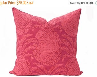 Sale Pineapple pillow cover, Coral and Dark Pink Pillow - Hawaiian Pillow - Tropical Pillow - Madcap Cottage fabric - Coral pillow