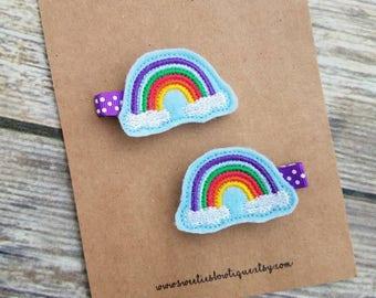 Rainbow hair clips, rainbow clips, rainbow hair bow, rainbow clippies