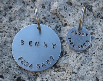 Hand Stamped Personalized Custom Aluminium Pet Tag - Dog Tag - Cat Tag - Pet Tag - Custom Tag - Custom ID Pet Tag - Dog Hand Stamped Tag