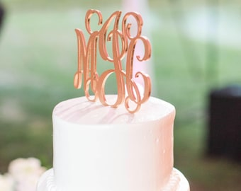 Monogram Wedding Cake Topper, Monogram Cake Topper, Initials Wedding Cake Topper, Gold Monogram Cake Topper