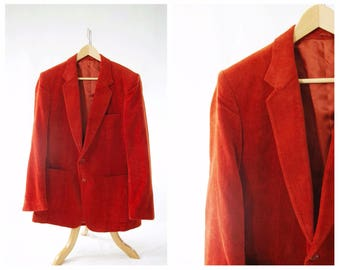 Deep Orange Blazer Late 1970's // Men's Cotton Blazer // Large Early 80's