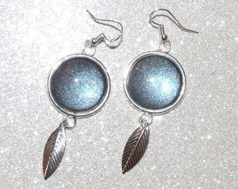 Earrings ' Silver 925 dark blue painted cabochon chrome and leaf