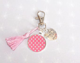 Cute purse Keychain pink tassel and heart, pink dots