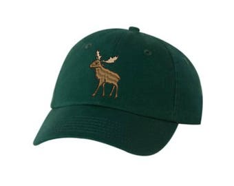 Moose Embroidered Hat Unisex. Embroidered Hat Baseball Cap.  Adjustable With Tri-Glide Buckle. 36 Colors VC300A