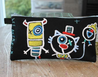Pencil case, pencil crayons, made and hand painted, unique, the creepy, the creepy characters