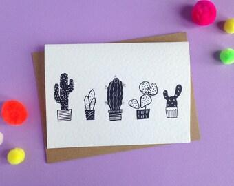 Cactus print card   Botanical Succulent Plant   Mexican Style
