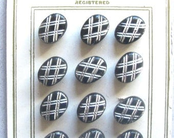 Button Card Of Twelve Black Glass Buttons With Silver Cross Hatch Pattern