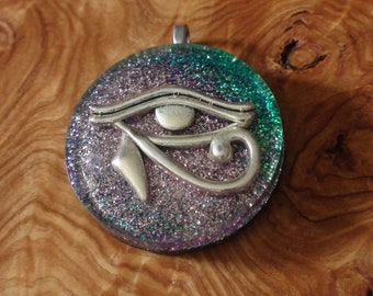 Egyptian Eye of Horus Crystal Ormus Orgone Pendant Necklace 40mm Unisex soul healing restoration protection Lavender Blue Osiris Wadjet