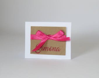 1 wedding paper place card personalized for wedding shabby chic kraft rustic country