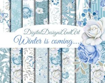Winter digital paper, Floral seamless paper, Flower patterns, watercolor flower paper, winter flower pattern, digital background, scrapbook