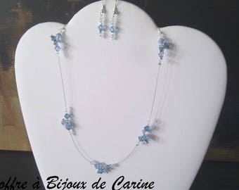 Set 2 pieces necklace and earrings wedding party Christmas blue Swarovski crystal earrings