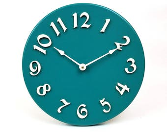 SIlent wall clock. Contemporary wall clock. Colorful wall clock. Modern wall clock. 11 inch kitchen clock.  CL5033