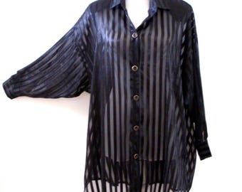 Vintage 80s 90s Sheer Black Oversized Blouse - 1990s 1980s Black Stripe Batwing Layering Tunic - Sheer Long Black Top - Medium to Large