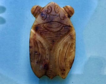 Chinese Western Han Dynasty(200 B C) unearth white jade cicada pendant engraved cloud symbols wings and pop out eyes