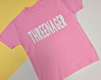 READY TO SHIP: Threenager Pink Top | 3rd Birthday Outfits | Toddler Birthday Outfit