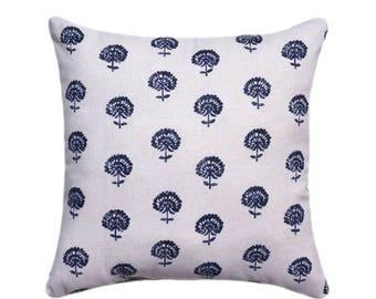 SALE Indigo Hand Flora Pillow Cover, Pillow, Robert Allen Square Pillow, Lumbar Pillow, Eurosham, Accent Pillows, Throw Pillows, Toss Pillow