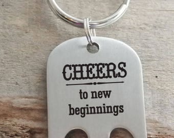Cheers to New Beginnings Bottle Opener Personalized Engraved Key Chain