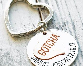 Gotcha Day Adoption Key Chain Personalized Hand Stamped