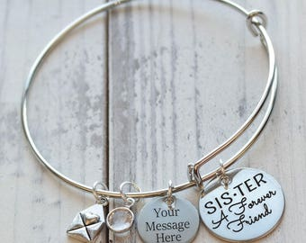 Sister A Forever Friend Personalized Wire Adjustable Bangle Bracelet