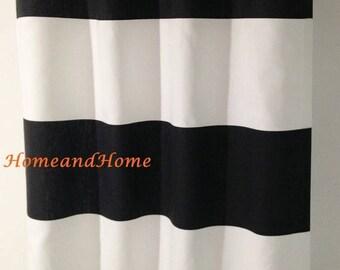 Summer SALE Black cabana curtains Drapery window curtains 25W Cabana Horizontal Stripe Black White Cabana Curtain Window curtains