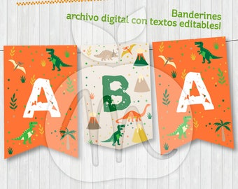 Banners Dinosaurs. Printable and editable texts file for your party! INSTANT DOWNLOAD!