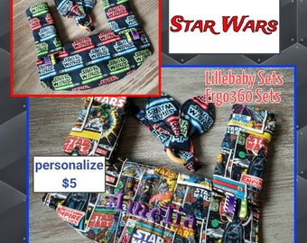 Ergo 360 or Lillebaby 3-PC Headrest Bib/Straight pads set. Curved Pads upgrade available.   STAR WARS Comics. Your choice back fabric.