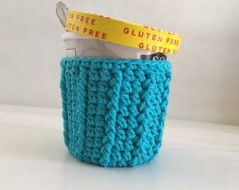 Ice Cream Cozy for Pint Size Container  Party Favor 100% Cotton Crochet Cozy Turquoise Ready to Ship