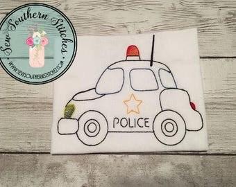 Sketched Police Car Embroidery Design ~ Instant Download ~ Vintage~Sketch~Bean~Heirloom Stitch