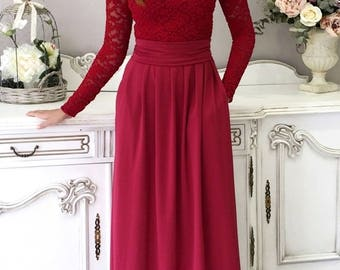 Top Lace Burgundy Maxi Womens Dress Long Sleeves Pockets Sash
