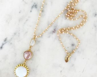 Spring Rosary Sun Necklace, pink opal, opalite, rosary necklace, sun necklace, moonstone