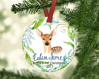 Baby's FIRST Christmas ornament.Boy Ornament.Baby Deer.Christmas ornament.Personalized christmas ornament.Baby's first Christmas.