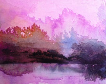 Pink waterscape - Original painting ink and collage on canvas. Abstract landscape, contemporary art, abstract art.