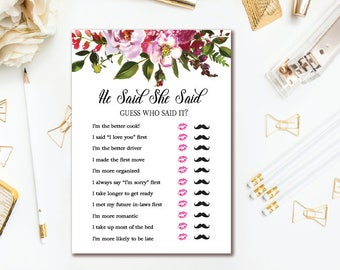 Bridal Shower He Said, She Said Game - Pink Floral Bridal Shower Games - Guess Who Said It Wedding Shower - INSTANT DOWNLOAD