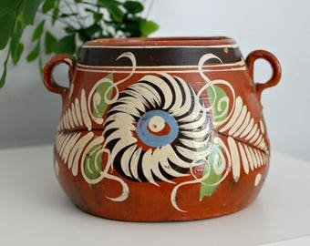 vintage terracotta, vintage terracotta pot, terracotta, mexican pottery, mexico pottery, hand painted terracotta, pottery, home decor